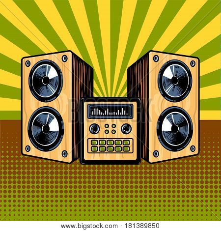 Loudspeaker enclosure comic book pop art retro style vector illustratoin