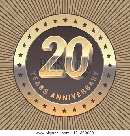 20 years anniversary vector icon logo. Graphic design element or emblem as a golden medal for 20th anniversary