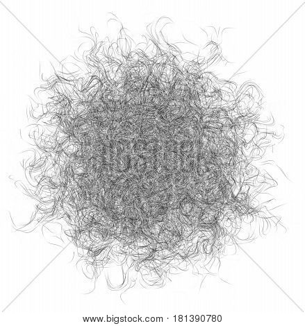 3D illustration of abstract fiber ball on whitebackground
