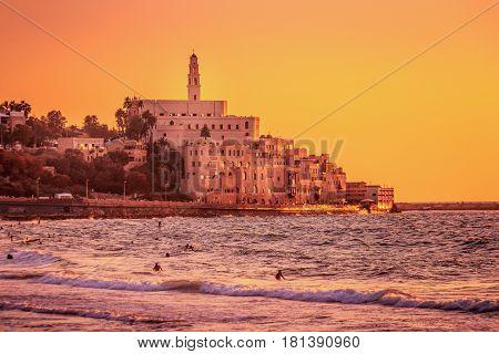 Martian like landscape of sunset in Old city of Jaffa, Tel Aviv, Israel
