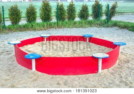 Children's playground. Sandpit in an urban playground.