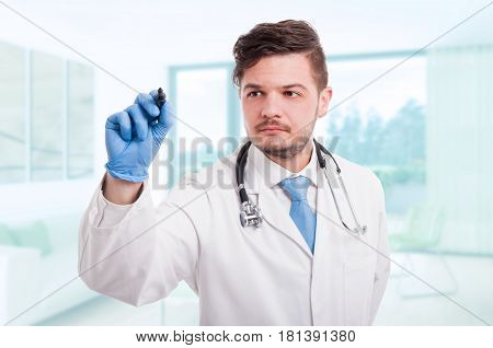 Confident Doctor Writing Something In The Air