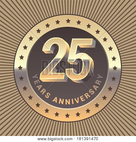 25 years anniversary vector icon logo. Graphic design element or emblem as a golden medal for 25th anniversary