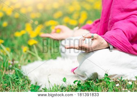 Position Yoga Practice It A Girl In Nature In Spring Flowers