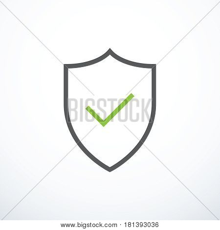 Shield and check mark icon. Shield and tick icon