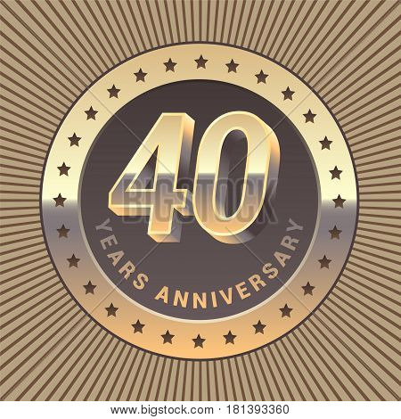 40 years anniversary vector icon logo. Graphic design element or emblem as a golden medal for 40th anniversary