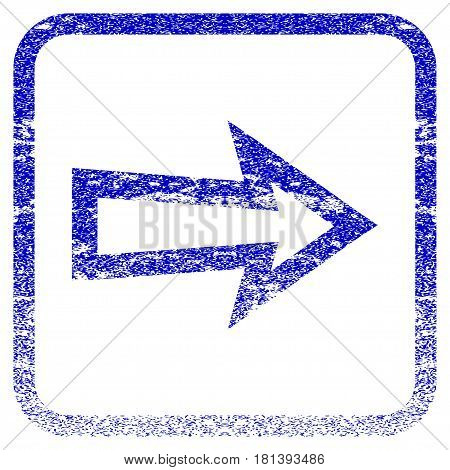 Arrow Right textured icon for overlay watermark stamps. Blue vectorized texture. Flat vector symbol with dust design inside rounded square frame. Framed blue rubber seal stamp imitation.