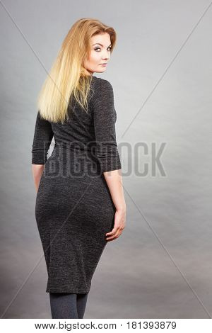 Woman Wearing Tight Dress, Back View