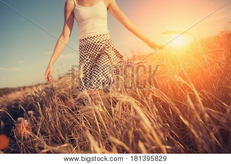 A Blurred Girl Running Through The Wheat Field At Sunset (intentional Sun Glare, Lens Focus On Wheat