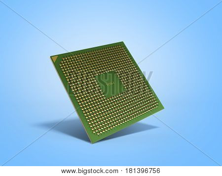 Central Computer Processors Cpu High Resolution 3D Render On Blue