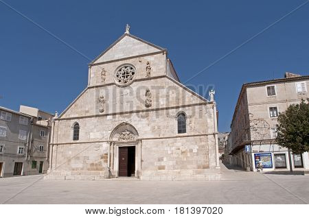 A Medieval church on a square in Rab, Croatia