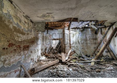 Interior of the old abandoned and crumbling building