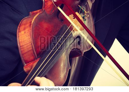 Music passion hobby concept. Young man man dressed elegantly playing on wooden violin. Studio shot on white background