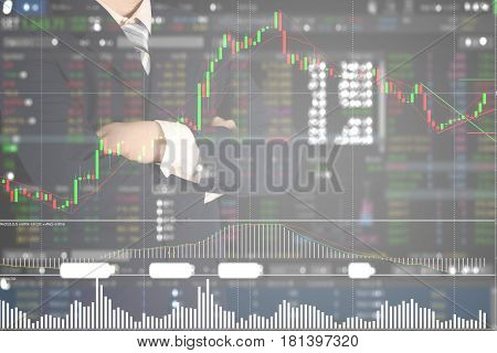 Double Exposure Of Stack Of Coins And Calculator On Stock Market Chart Background, Investment