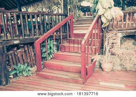 Old Wooden Stairs In The Garden, Selective Focus On The Steps, Vintage Tone.