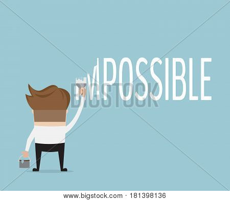 businessman change word impossible to possible with color painting vector illustration