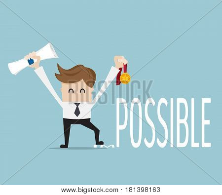businessman change impossible to possible with gold reward vector illustration