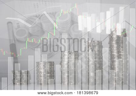 Double Exposure Of Increasing Columns Of Coins, Piles Of Coins Arranged As A Graph With Coins Curren