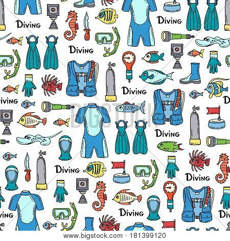 Vector seamless pattern with hand drawn colored symbols of diving. Pattern on the theme of summer travel and hobby. Background for use in design