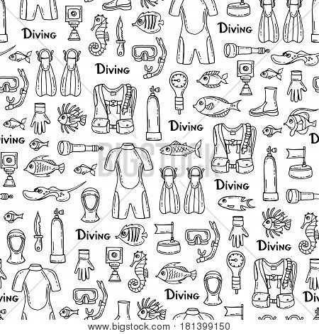 Vector seamless pattern with hand drawn isolated symbols of diving on white color. Pattern on the theme of summer travel and hobby. Background for use in design