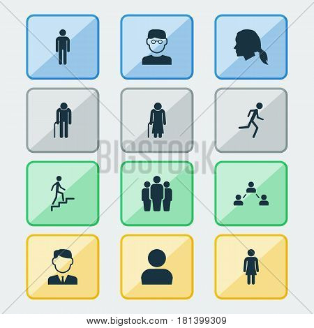 Person Icons Set. Collection Of Network, Ladder, Old Woman And Other Elements. Also Includes Symbols Such As Climbing, Gentlewoman, Businessman.