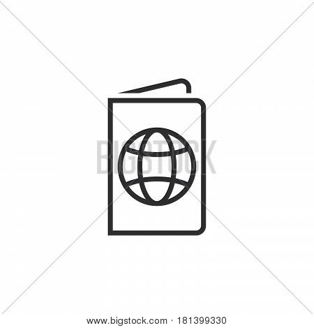 Passport Line Icon, Outline Pass Vector Logo, Linear Official Document Pictogram Isolated On White,