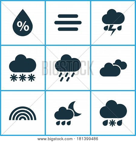 Nature Icons Set. Collection Of Moisture, Haze, Colors And Other Elements. Also Includes Symbols Such As Light, Fog, Rainy.