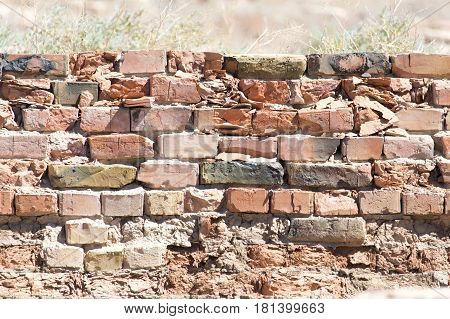 background of an old brick wall . A photo