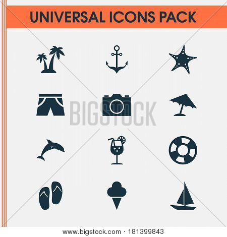 Sun Icons Set. Collection Of Star, Parasol, Mammal And Other Elements. Also Includes Symbols Such As Star, Juice, Drink.