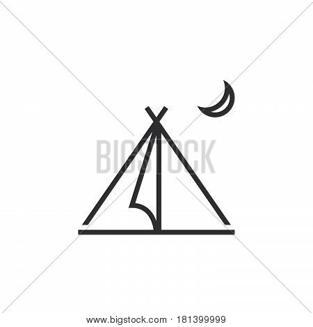 Tourist Tent Line Icon, Outline Vector Logo, Linear Shelter Pictogram Isolated On White, Pixel Perfe