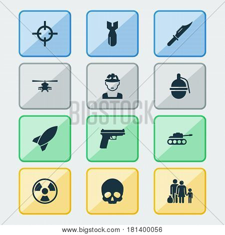 Battle Icons Set. Collection Of Bombshell, Rocket, Cutter And Other Elements. Also Includes Symbols Such As Bio, Sniper, Danger.