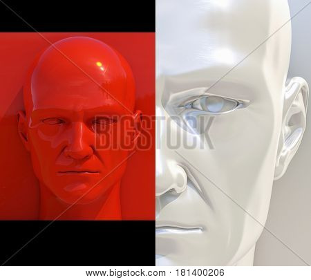 3d render: Realistic 3d Man Whitte and Red Heads