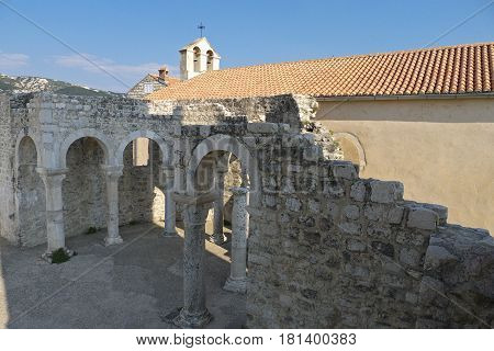 A view of the St Jogn the evangelist church in Rab Croatia