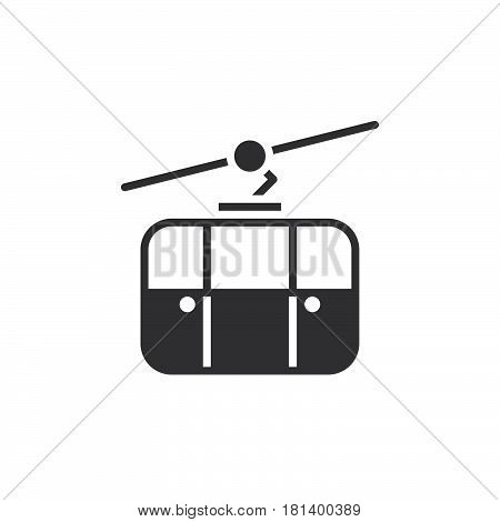 Cableway Icon Vector, Ropeway Solid Logo, Pictogram Isolated On White, Pixel Perfect Illustration