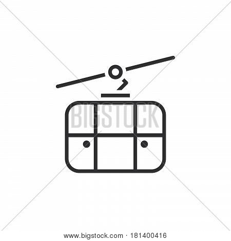 Cableway Line Icon, Outline Ropeway Vector Logo, Linear Pictogram Isolated On White, Pixel Perfect I