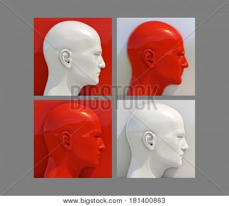 3d render: Realistic 3d Human Heads on Different Brightly Colored Backgrounds