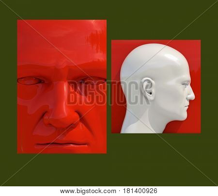 3d render: Realistic 3d Human Heads on Different Brightly Colored Backgrounds,