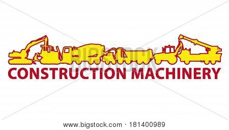 Construction machinery icon symbol. Ground works sign. Machines vehicles brand mark. Heavy construction equipment for building truck, digger, crane, bagger, mix, excavator. Illustration master vector.
