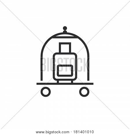 Hotel Luggage Cart Line Icon, Outline Vector Logo, Linear Pictogram Isolated On White, Pixel Perfect