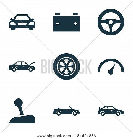 Automobile Icons Set. Collection Of Auto, Chronometer, Drive Control And Other Elements. Also Includes Symbols Such As Sports, Lever, Tire.