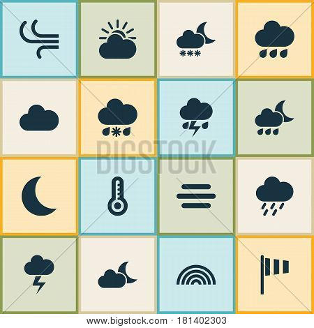 Nature Icons Set. Collection Of Douche, Wet, Cloudy And Other Elements. Also Includes Symbols Such As Flash, Fog, Cloudy.