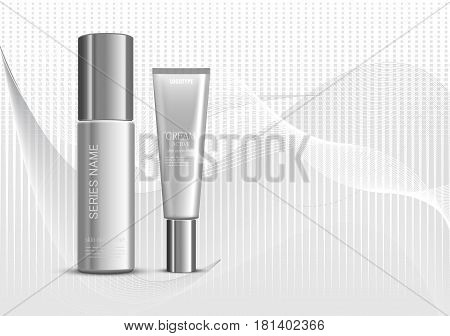 Skin moisturizer cosmetic ads template with gray realistic packages on wavy gray dynamic lines and halftone background. Vector illustration
