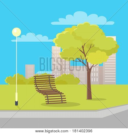 Wooden bench of many sticks with back between green tree and street long lantern vector urban picture in summer time isolated. Place for human recreation and relation with fresh air and trees