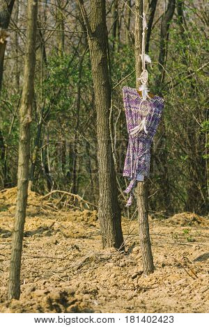 On the tree hanging dreamer a woman's dress. Indie style.