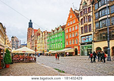 People At Market Square In Wroclaw Poland