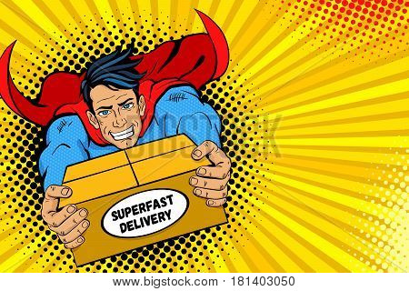 Pop art superhero. Young handsome happy man in a superhero costume flies holding big box with super fast delivery text. Vector illustration in retro pop art comic style. Delivery poster template.