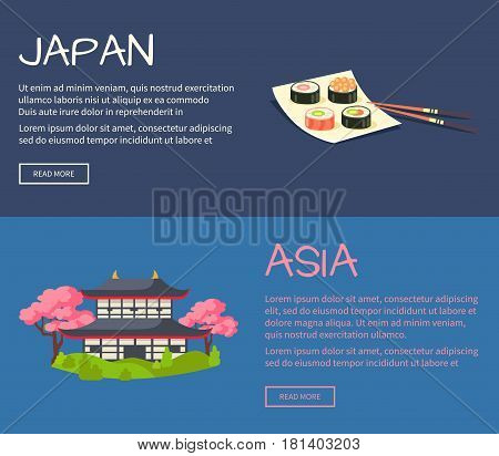 Set of Asia and Japan web banners. Sushi rolls on square plate and pagoda in cherry bloom flat vector illustrations. Horizontal concepts with Asia related symbols for travel company landing page