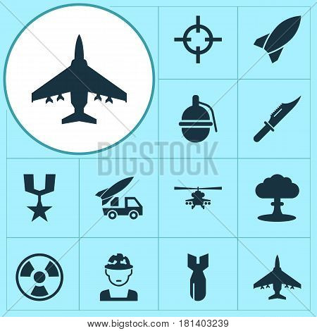 Combat Icons Set. Collection Of Chopper, Rocket, Bombshell And Other Elements. Also Includes Symbols Such As Explosion, Grenade, Hazard.