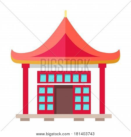 Oriental type of building with ruddy triangular roof, two columns and many little blue windows with red frame in flat design. Vector illustration of isolated dwelling in asian style on white.