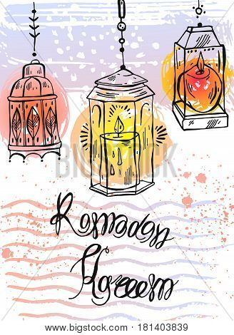 Hand drawn Ramadan Kareem lettering and Lamps greeting card.Ramadan Kareem vector background.Card template for ramadan holiday, ramadan celebration, ramadan muslim, ramadan festival, ramadan greeting.